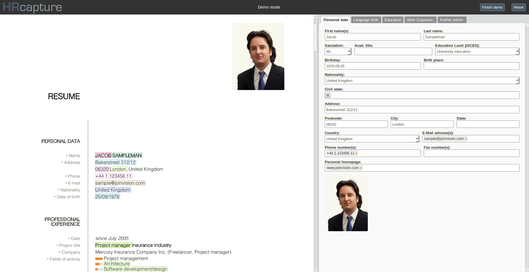HRcapture screenshot